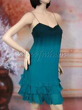 $345 New REBECCA TAYLOR Stylish Green Silk Ruffle Detail Bottom Hem Dress 8
