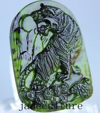 Chinese natural black green jade jadeite pendant necklace hand-carved tiger