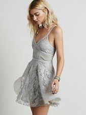 New Free People Taped Lacey Pieced Lace Boho Slip Dress Gray Lavender S Rare