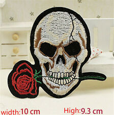 Roses Skull Embroidered Iron/Sew on Patches/Badge Applique Motif DIY Badges