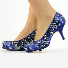 NEW WOMEN WEDDING PARTY PROM PLATFORM DIAMANTE SHOES MID HEELS SIZE 3-8
