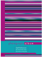 Large Spiral Bound Self Adhesive Photo Album 20 Sheets - 40 Sides -Purple Stripe