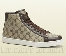 GUCCI Mens 11.5G brown Supreme HYSTERIA Logo BROOKLYN High Top Sneakers NIB Auth