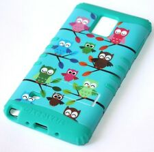 For Samsung Galaxy Note 4 -HARD&SOFT RUBBER HYBRID SKIN CASE TURQUOISE GREEN OWL