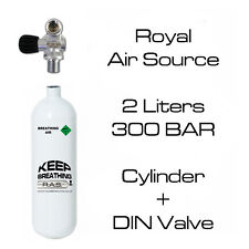 2 Liters 300 BAR scuba diving pony cylinder with DIN valve - BRAND NEW, IN TEST