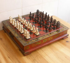 Chinese 32 pieces chess set & Leather Wood Box Flower Bird Table