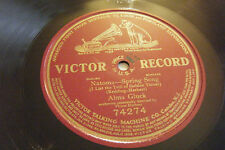 "ALMA GLUCK 1 sided 12"" 78 Natoma - Spring Song 1912 Victor 74274 EX"