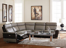 GLORIA - 5pcs Real Leather Power Recliner Sofa Couch Sectional Set Living Room