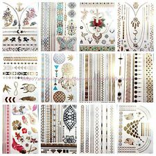 10 sheets wholesale temporary metallic flash tattoo large fake tattoos