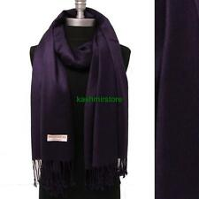 NEW Solid 100%Pashmina Wrap Stole Cashmere Shawl/Scarf Soft Egg plant #707