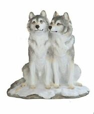 7.5 Inch Wolves in Snow Nature Wildlife Animal Statue Collectible Wild Wolf