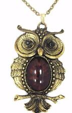 New One Of The Kind  Antique GoldTone Owl Pendant Gold Tone Necklace Brown