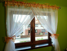 Beautiful White Voile Net Curtain with Various Colours Bows