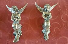 A Pair Of Antique 19th C Gilt  Furniture Cherub Fittings - Ideal Coat Hangers