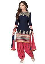 Blue Patiyala Designer Printed Unstiched dress material sevenfold