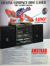 PUBLICITE ADVERTISING 104  1986  AMSTRAD  chaine hi-fi COMPACT DISC-LASER
