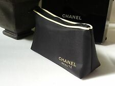 CHANEL Beaute VIP cosmetic Makeup Bag Case Black  Gold Limited Edition