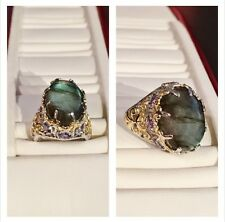 Labradorite and Tanzanite 14K Yellow Gold Sterling Silver Ring - Size 5