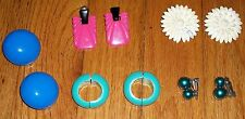 VINTAGE 60s 70s LOT CLIP EARRINGS 5PR SPRING LOADED HOOP DANGLE DOME FLOWER MORE