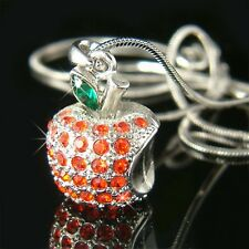 w Swarovski Crystal ~3D Red APPLE fruit pendant Charm Chain Necklace Jewelry New