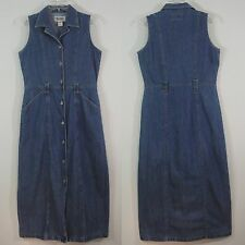 Bill Blass Jeans Blue Denim Sleeveless Dress Fitted Button Front Long Straight M