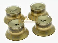 4x LP Gold/Gold Top Hat Guitar Knobs Reflector Knobs fits Les Paul