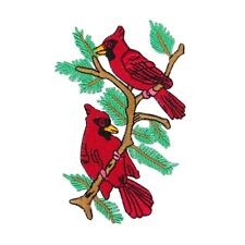 ID 2615 Cardinal Pair Perching on Branch Patch Red Bird Craft Iron-On Applique
