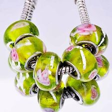 5Pcs GF Silver Yellow charms Crystal MURANO GLASS lampwork european beads