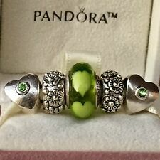 5pc Murano Charm Set W/1 Authentic Pandora GREEN LOVE LIME HEARTS ALE Glass Bead