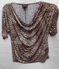 Dressbarn Collection leopard print top cowl neckline gold sequins,Small-S/S