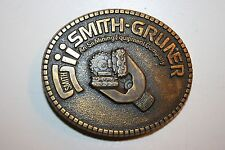 WOW Vintage Smith Gruner Sii Mining Equipment Company Brass Belt Buckle RARE