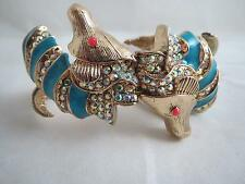 Betsey Johnson 'betsey and the sea' blue seahorse hinged bracelet, NWT