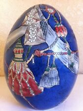 "Chinese Ceramic Oriental Christmas Engraved Blue Large Decorative Egg 6"" tall"
