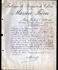 """MOUTIER-ROZEILLE prés FELLETIN (23) SCIERIE / PARQUET """"MAZIERE Freres"""" en 1907"""