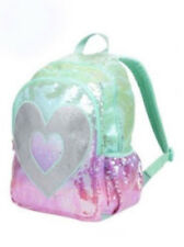 JUSTICE GIRLS SEQUIN BACKPACK OMBRE HEART DANCE CHEER BAG SPORT TOTE NWT