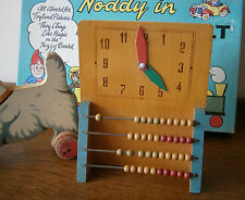 VINTAGE 1950'S SMALL PAINTED WOOD ABACUS & TEACHING CLOCK TOY VINTAGE NURSERY