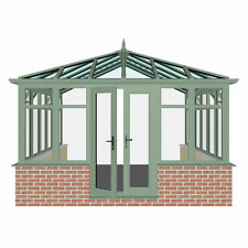 4.0m X 4.0m DIY EDWARDIAN DWARF WALL CHARTWELL GREEN WITH BLUE GLASS ROOF