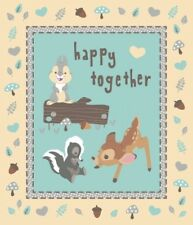 BAMBI AND FRIENDS HAPPY TOGETHER LARGE FABRIC PANEL