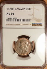 1874H Canada 25c, NGC graded AU50, Luster