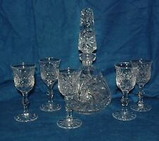 "VINTAGE AMERICAN CUT CRYSTAL CORDIAL DECANTER & 5 STEM GLASSES 10"" PINWHEEL STAR"