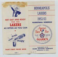 1952-53 Minneapolis Lakers Basketball Pocket Schedule Gluek Brewing Company