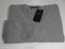 AQUASCUTUM 100% CASHMERE Jumper Sweater GREY sz XL Vee Neck BNWT