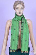 Vintage Kantha Scarf Indian Sari Stole Women Shawl Hand Stitch Embroidered