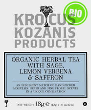 ORGANIC HERBAL TEA WITH SAGE LEMON, VERBENA & GREEK RED SAFFRON -10 Teabags 18g