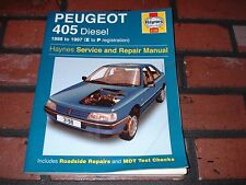 HAYNES MANUAL FOR PEUGEOT 405 DIESEL MODELS. 1988 TO 1997. E TO P REG.