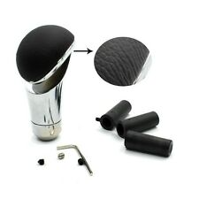 Universal Black Alloy Leather Gear Shifter Shift Knob Gear Knob for Most Cars