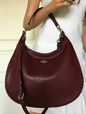 NWT COACH BURGUNDY PEBBLED LEATHER LARGE HOBO BAG SATCHEL SHOULDER HANDBAG PURSE