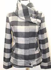 Le Chateau Women Jacket Coat Plaid Black Gray Wool Blend Sz XS Lined Winter