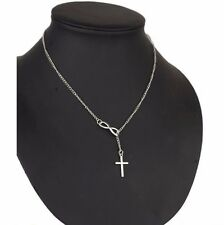 Infinity Cross Pendant Necklace Sterling Silver plated Chain Jewelry Charm Women