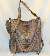 SR Squared Sondra Roberts Beige Snakeprint Vegan Leather Large Bucket Tote Bag
